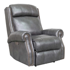 Barcalounger Blair Big & Tall Leather Recliner with Power Recline and Power Headrest - Wrenn Gray