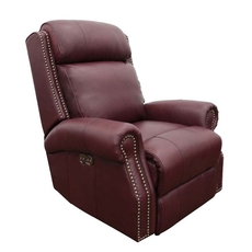 Barcalounger Blair Big & Tall Leather Recliner with Power Recline and Power Headrest - Shoreham Wine