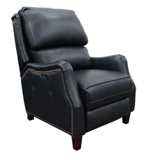 Barcalounger Morrison Big & Tall Leather Power Recliner - Shoreham Blue