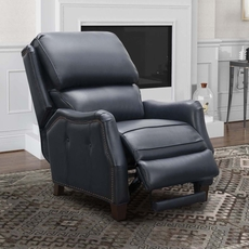 Barcalounger Morrison Big & Tall Leather Recliner - Shoreham Blue