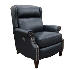 Barcalounger Philadelphia Leather Recliner with Power Recline, Power Headrest & Power Lumbar - Shoreham Blue