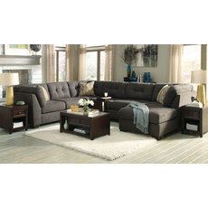 Benchcraft Delta City Stationary Chaise Sectional with Queen Sofa Sleeper in Steel