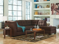Benchcraft Maier Stationary Chaise Sectional in Walnut