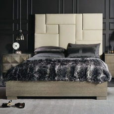 Bernhardt Mosaic Upholstered Wood Panel Queen Bed