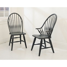Broyhill Attic Heirlooms Windsor Arm Chair in Antique Black Set of 2