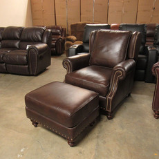 Clearance Bradington-Young Bosworth Varitilt Recliner and Ottoman