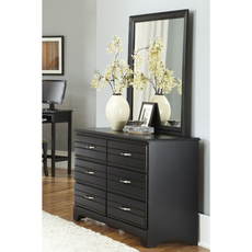 Carolina Furniture Works Platinum Collection 6 Drawer Double Dresser and Mirror in Black