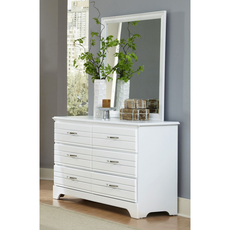 Carolina Furniture Works Platinum Collection 6 Drawer Double Dresser and Mirror in White