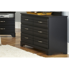 Carolina Furniture Works Platinum Collection 6 Drawer Double Dresser in Black