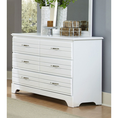 Carolina Furniture Works Platinum Collection 6 Drawer Double Dresser in White