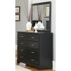 Carolina Furniture Works Platinum Collection 8 Drawer Tall Dresser and Mirror in Black