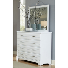 Carolina Furniture Works Platinum Collection 8 Drawer Tall Dresser and Mirror in White