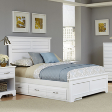 Carolina Furniture Works Platinum Collection Queen Size Storage Bed in White