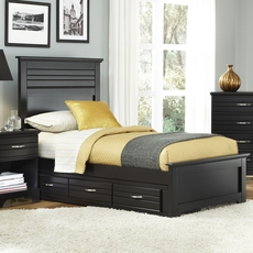Carolina Furniture Works Platinum Collection Twin Size Storage Bed in Black