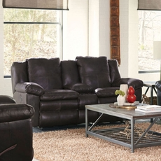 Catnapper Aria Leather Power Lay Flat Reclining Console Loveseat in Chocolate