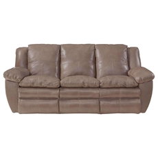 Catnapper Aria Leather Lay Flat Reclining Sofa in Smoke