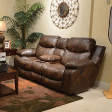 Catnapper Catalina Reclining Console Loveseat in Timber with Storage and Power Option