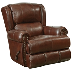 Catnapper Duncan Leather Deluxe Glider Recliner in Walnut