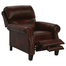 Catnapper Frazier Leather Reclining Chair with Extended Ottoman in Bourbon