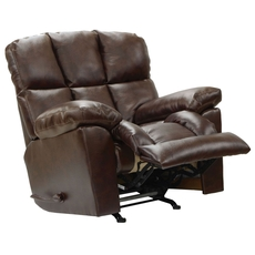 Catnapper Griffey Chaise Leather Rocker Recliner in Java