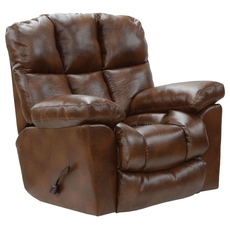 Catnapper Griffey Chaise Leather Rocker Recliner in Tobacco
