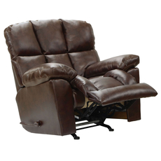 Catnapper Griffey Power Layflat Leather Rocker Recliner in Java