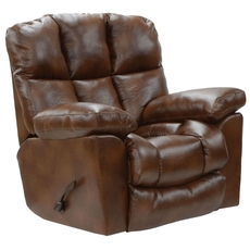 Catnapper Griffey Power Layflat Leather Rocker Recliner in Tobacco