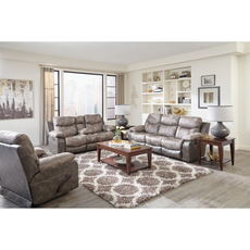 Catnapper Henderson Reclining Console Loveseat in Steel