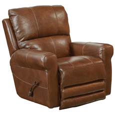 Catnapper Hoffner Leather Power Lay Flat Recliner in Chestnut