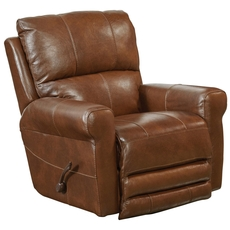 Catnapper Hoffner Leather Swivel Glider Recliner in Chestnut