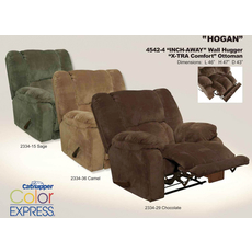 Catnapper Hogan Inch Away Wall Hugger with Oversized X-tra Comfort Footrest in Camel