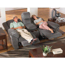 Catnapper Joyner Lay Flat Reclining Console Loveseat in Slate with Power Option
