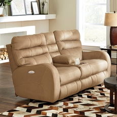 Catnapper Kelsey Power Lay Flat Reclining Console Loveseat with Power Headrest in Doe