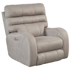 Catnapper Kelsey Power Lay Flat Recliner with Power Headrest in Aluminum