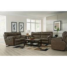 Catnapper Milan Leather Lay Flat Power Recliner in Smoke