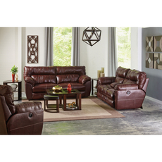 Catnapper Milan Leather Lay Flat Power Recliner in Walnut