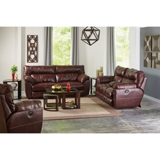 Catnapper Milan Leather Lay Flat Power Reclining Console Loveseat in Walnut
