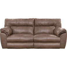 Catnapper Milan Leather Lay Flat Power Reclining Sofa in Smoke