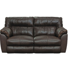 Catnapper Milan Leather Lay Flat Reclining Console Loveseat in Chocolate