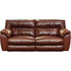 Catnapper Milan Leather Lay Flat Reclining Sofa in Walnut