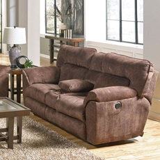 Catnapper Nichols Lay Flat Reclining Console Loveseat in Chestnut