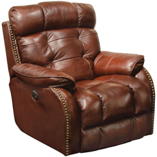 Catnapper Patterson Leather Lay Flat Power Recliner in Walnut