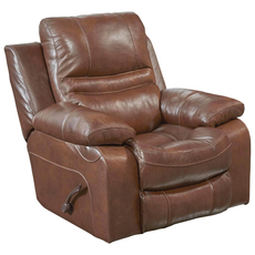 Catnapper Patton Leather Glider Recliner in Chestnut