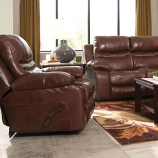 Catnapper Patton Leather Glider Recliner in Walnut