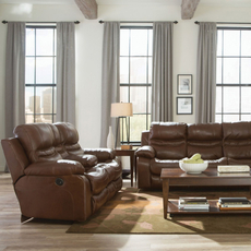 Catnapper Patton Leather Lay Flat Reclining Console Loveseat in Chestnut