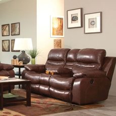 Catnapper Patton Leather Lay Flat Reclining Console Loveseat in Walnut