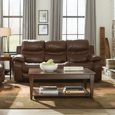 Catnapper Patton Leather Power Lay Flat Reclining Sofa in Chestnut