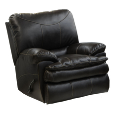 Catnapper Perez Leather Chaise Rocker Recliner in Steel with Power Option