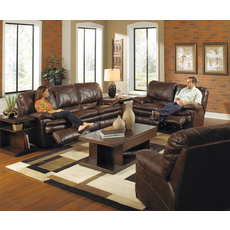 Catnapper Perez Leather Reclining Loveseat in Chestnut with Power Option