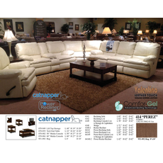 Catnapper Perez Leather Reclining Loveseat in Ice with Power Option